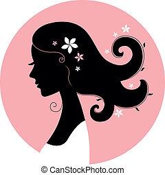 flicka, silhuett, blommig, cirkel, rosa, roman