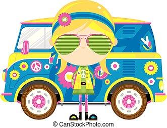 flicka, skåpbil, hippie, tecknad film, retro