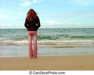 flicka, strand