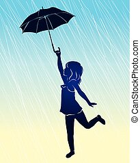 flicka, umbrella., silhuett