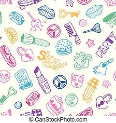 flickaktigt, klotter, seamless, struktur, vektor, mönster, bakgrund, parti, eller