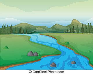 flod, mountains, skog