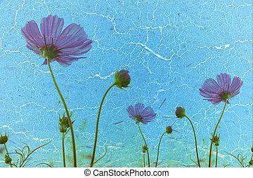 flowerl, årgång, papper, gammal, bakgrund