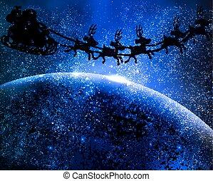 flygning, claus, jultomten, utrymme