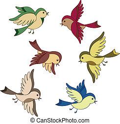 flygning, sätta, tecknad film, fågel