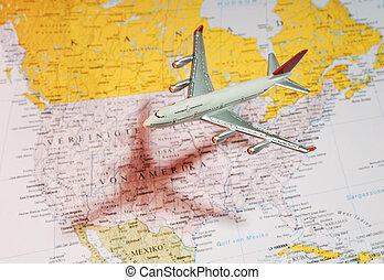 flygplan, amerika, över