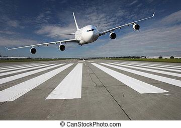 flygplan, låg, passera
