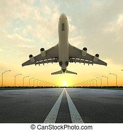 flygplats, plan, solnedgång, start