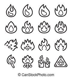 fodra, ikon, eld, sätta