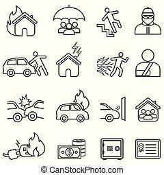 fodra, sätta, försäkring, ikon