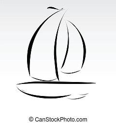 fodrar, båt, illustration