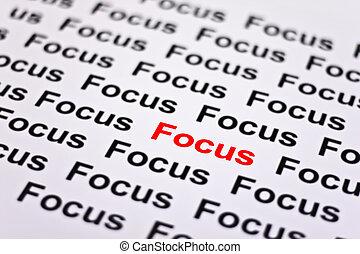 fokuserat, fokusera