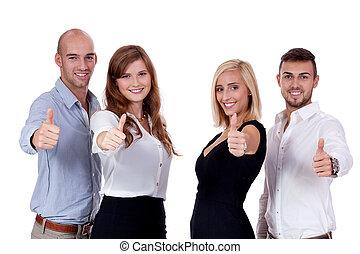 folk affär, lycklig, tillsammans, lag, grupp