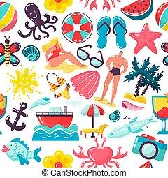 folk, baddräkt, bakgrund, seamless, design, sommar, vektor, resa, semester, illustration., mönster, kvinna, leisure., helgdag, man