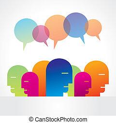 folk, buble, talande, grupp