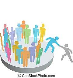 folk, förena, hjälper, person, medlemmar, grupp, företag, hjälpreda