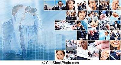 folk, grupp, collage., affär