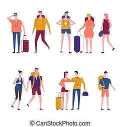 folk, handelsresandear, ikonen, vektor, resande, tecknad film