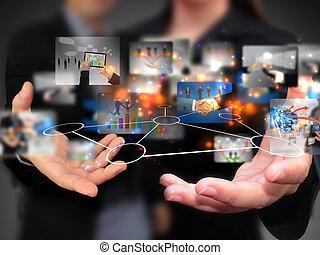 folk, holdingen, media, social, affär