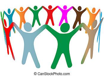 folk, många, symbol, uppe, färger, mångfaldig, räcker, ringa, hålla, blandning