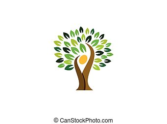 folk, naturlig, natur, wellness, logo, symbol, logo, design, hälsa, träd, ikon, vektor