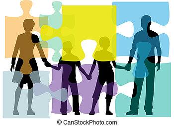 folk, problem, problem, rådgivning, familj, lösning