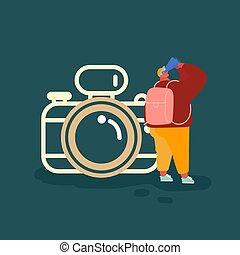 folk, resa, begrepp, turism, backpacking, man, lägenhet, tecknad film, resa, vektor, foto, planerande, abroad., sommar, äventyr, kamera, illustration., tecken, semester
