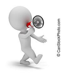 folk, -, rop, liten, genom, megafon, 3