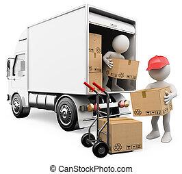 folk., rutor, lastbil, vit, arbetare, avlastning, 3
