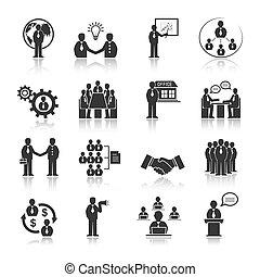 folk, sätta, möte, affärsverksamhet ikon