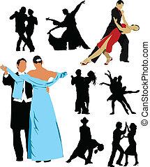 folk, silhuett, desi, dansande