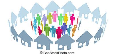 folk, social, granne, möta, hem, ringa