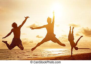 folk, ung, hoppning, solnedgång, bakgrund, strand