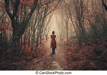 forest., dimmig, kvinna