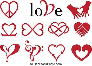 formen, hjärta, abstrakt, vektor, sätta