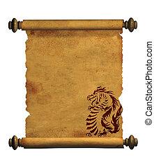 forntida, ark, pergament