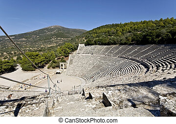 forntida grekland, peloponisos, amfiteater, epidaurus