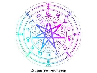 forntida, protection., undertecknar, vit, symbol, vektor, år, häxor, färgrik, divination., mystisk, symboler, mandala, wicca, wiccan, hjul, isolerat, mull, runes, astrologiska, zodiaken, sätta, ockult