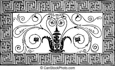 forntida, volutes, romersk, paris, pittoresque, patterns., specificera, geometriskt, tidskrift, le, design, 1840, foliated, gjord, gräns, mosaik, magasin