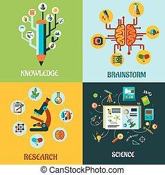 forska, lägenhet, begreppen, kläckning av ideer, vetenskap