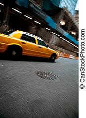 fortkörning, droska, stad, gulingen taxar