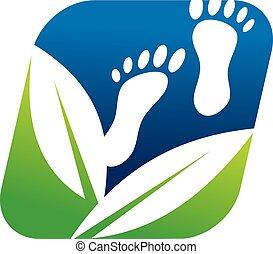 fot, vektor, design, mall, herbal, logo, massera