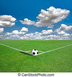 fotboll gärde, märken, hörna, vit, (soccer)