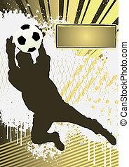 fotboll, mall, grunge, spelare, fotboll, affisch, silhuett