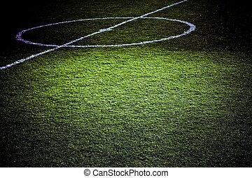fotboll, terräng, del, tände