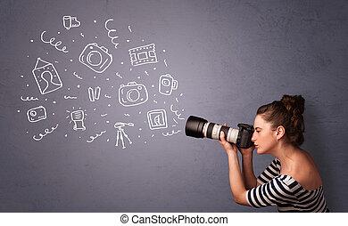 fotograf, flicka, skjutning, fotografi, ikonen