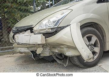 främre del, bilkrasch, sida, under