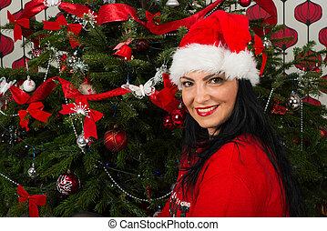 främre del, kvinna, träd, jul, lycklig