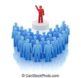 främre del, orator, folk, talande