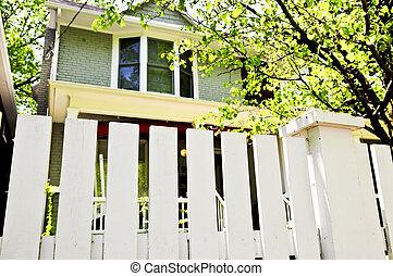 främre del, vit, gård, staket